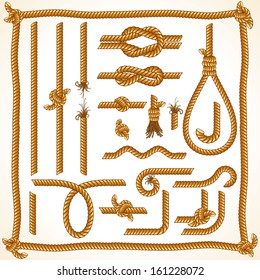 Isolated Design Elements from Twisted Rope. Vector Collection.