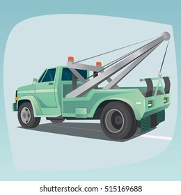 Isolated, detailed images of three-dimensional tow truck, car with crane, the main device of auto mechanics, in cartoon style. Side rear view. Vector illustration