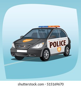 Isolated, detailed three-dimensional image of patrol car, vehicle with emergency lights system, the main device of police officers, in cartoon style. Side front view. Vector illustration