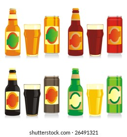 isolated different beer bottles, cans and glasses