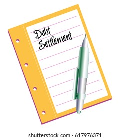 Isolated document with the text debt settlement written on its first page