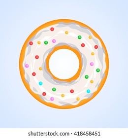 isolated  donut in white glaz.Vector illustration