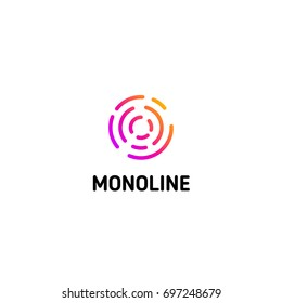 Isolated dotted line art logo template. Abstract linear logotype. Colorful geometric icon. Outline innovate design elements. Vector simple futuristic sign. Circle of lines.