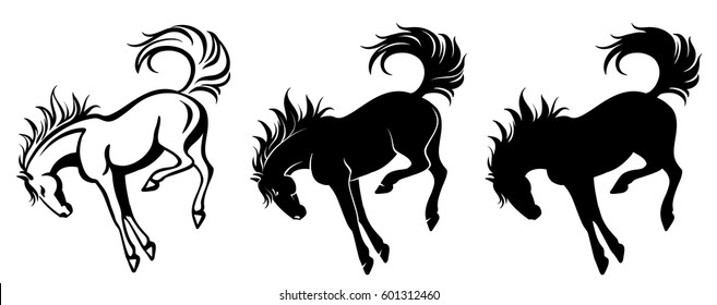 Isolated drawing of a kicking horse - outline and silhouette