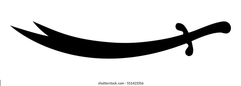 Isolated drawing of the legendary double edged sword of Imam Ali, the cousin and son-in-law of the Islamic prophet Muhammad. It is a holy object among  Shias and Alawites. Its Arabic name is Zulfiqar.