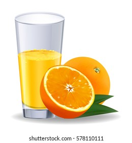 Isolated drink. Glass of orange juice and slices of orange fruit isolated on white background.  Objects can be placed on any background. Vector design elements