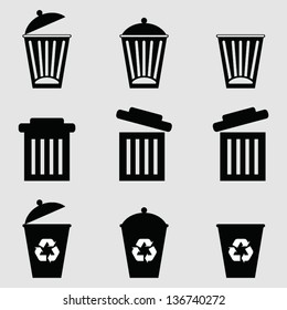 Isolated dust bin icon on Gray background vector.