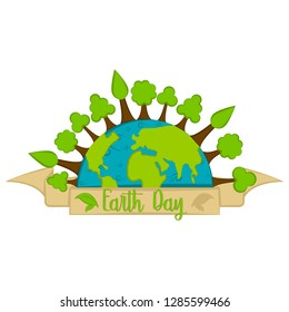Isolated earth day label. Vector illustration design