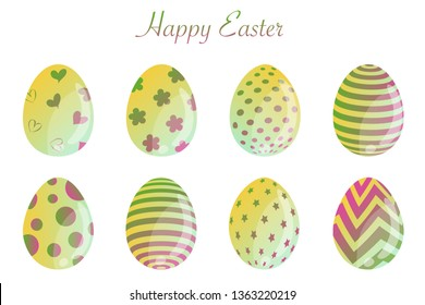 Isolated easter eggs spring holiday vector icon set use for web, pattern, site, banner, label and flyer. Modern abstract egg illustration texture collection symbol for colorful celebration seasonal