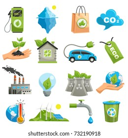 Isolated eco icon set with tools with the help of which ecology does not collapse vector illustration