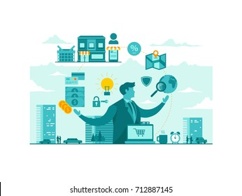 Isolated Ecommerce Technology Start Up Business Concept Illustration