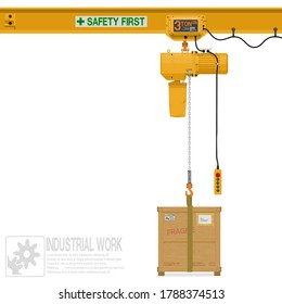 Isolated electric chain hoist with wooden crate on white background
