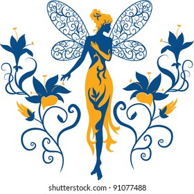 Isolated elegant silhouette graceful fairy standing among flowers on a white background. Ornate flowers on background surrounded person. Vector illustration