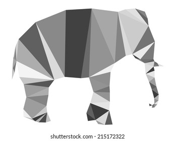 Isolated Elephant made with triangles. Vector design.