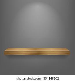 isolated Empty shelf for exhibit. Vector illustration.