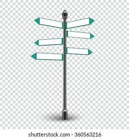 Isolated empty traffic signs on transparent background. Blank direction infographics 3d arrows signs for copy space text. Crossroad sign icon, crossroad sign post, crossroad sign board. Vector EPS10
