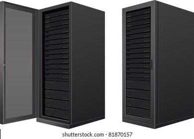 Isolated IT enclosures; door open and door closed
