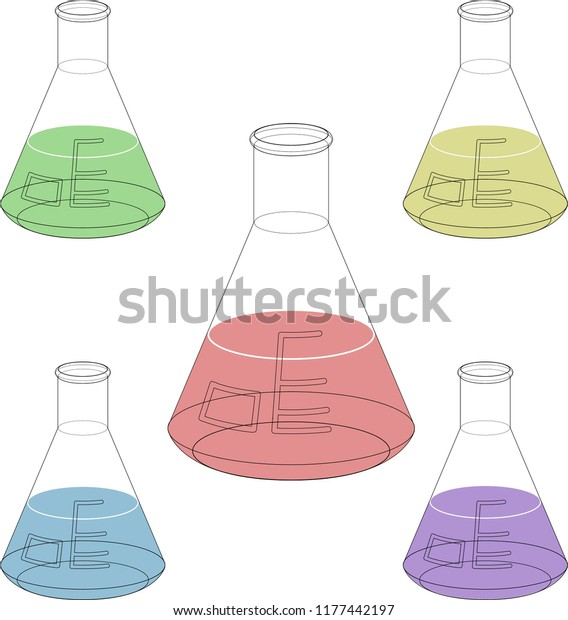 Isolated Erlenmeyer Flask Emptycolored Liquid Vector Stock