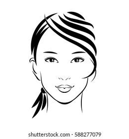 Isolated face cute Asian girl. Southeast Asia.
