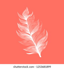Isolated falling Living Coral color fluffy feather in realistic style. Vector Graphic Bird Wing Element