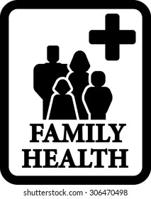 isolated family black silhouette on frame. health sign
