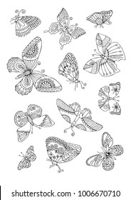 Isolated fantasy decorative butterflies. Hand drawn picture. Sketch for anti-stress adult coloring book in zen-tangle style. Vector illustration for coloring page.