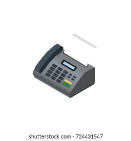 Isolated Fax Telephone Isometric. Office Phone Vector Element Can Be Used For Fax, Telephone, Telefax Design Concept.