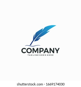 isolated feather quill pen icon design template