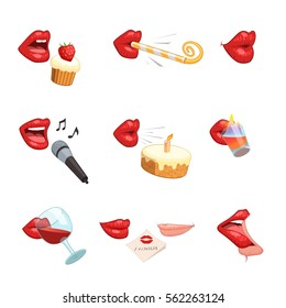 Isolated female red lips party comic icons set drinking blowing kissing singing to microphone eating cakes vector illustration