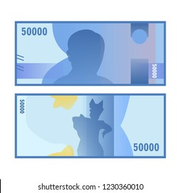 Isolated fifty thousand rupiah vector design. Indonesia rupiah paper money design