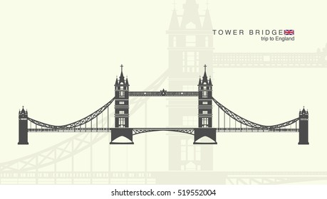 isolated figure of the tower bridge in London