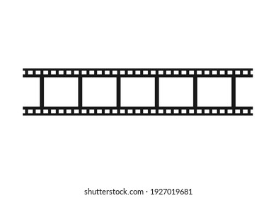 Isolated filmstrip with blank film frame for repeating pattern background in vector silhouette
