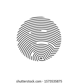Isolated Fingerprint or Thumbprint circle icon on transparent background. Security identification concept scan in line style. Vector illustration print finger and thumb