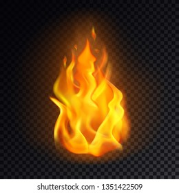 Isolated fire emoji on transparent background. Realistic flame or 3d orange burn for icon or logo. Heat and warm symbol or emoticon. Hazard and danger, warning and flaming, explosion, bonfire concept