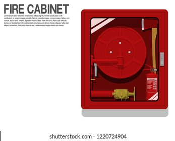 Isolated Fire Hose Cabinet on transparent background