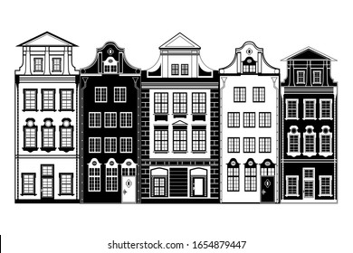 Isolated five european houses; old town; black and white