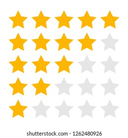 Isolated Five Four Three Two and One Star Rating Icons