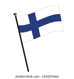 Isolated flag of Finland on a pole, Vector illustration - eps10