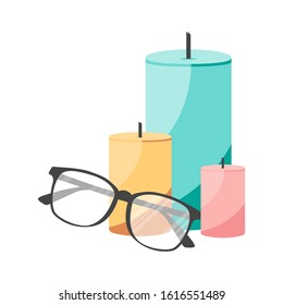 Isolated flat candles and glasses. Concept for aroma relax salon for poster, template, card, print. Vector Illustration