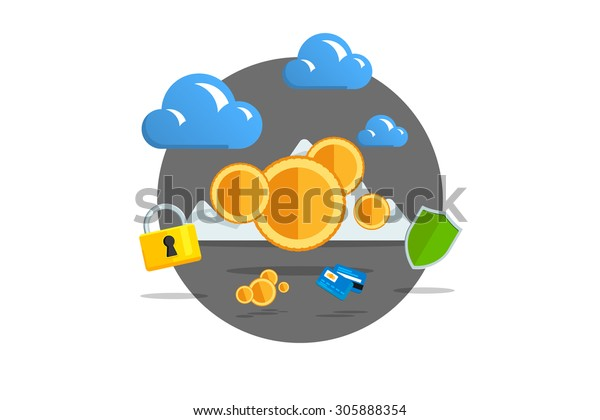 Isolated Flat Color Vector Illustration On Stock Vector