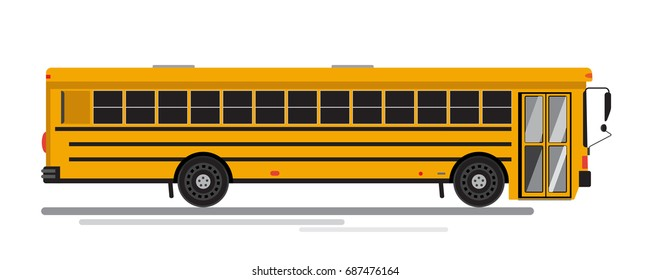 Isolated flat colorful school bus. Isolated on white background