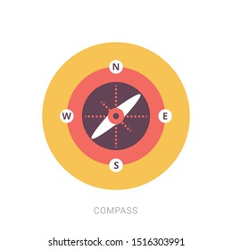 Isolated flat silver compass with shadow. compass traveler. compass icon. modern compass design. Yellow theme concept