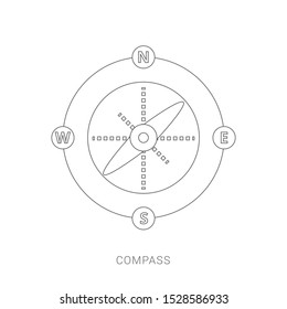 Isolated flat silver compass with shadow. compass traveler. compass icon. modern compass design.