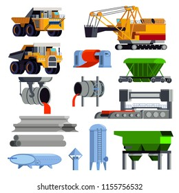 Isolated and flat steel production metallurgy icon set with operating machines and containers for transportation vector illustration