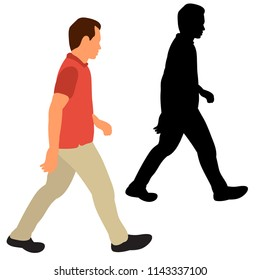 isolated, flat style man is walking