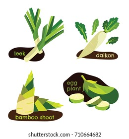isolated flat vector set of vegetables including leek radish bamboo shoot and eggplant in cute and simple graphic style. can be used as the info graphic in health article and many more