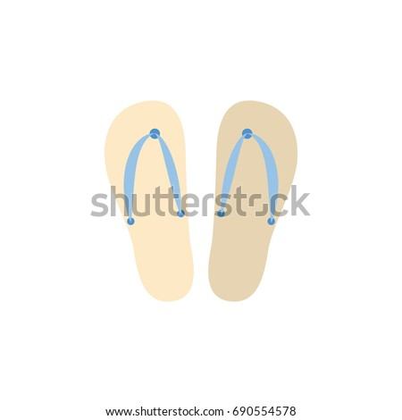 71742e6fc Isolated Flip Flop Flat Icon. Beach Sandals Vector Element Can Be Used For  Sandals
