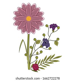 Isolated floral bouquet. . Spring season. Watercolor flowers - Vector illustration