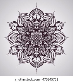 Isolated floral indian Mandala. Detailed hand drawn patterns. Symbol of yoga.Vector isolated illustration. Samsara