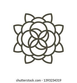 Isolated flowers arabic mehndi image. Mandala - Vector